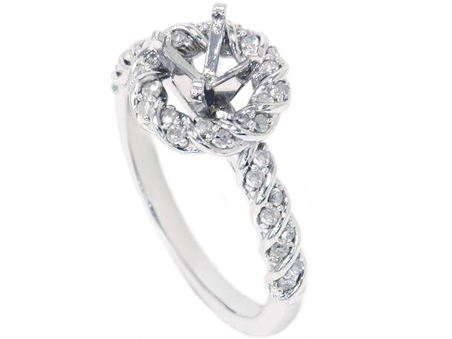 3/8ct Halo Diamond Ring Setting Solid 14K White Gold
