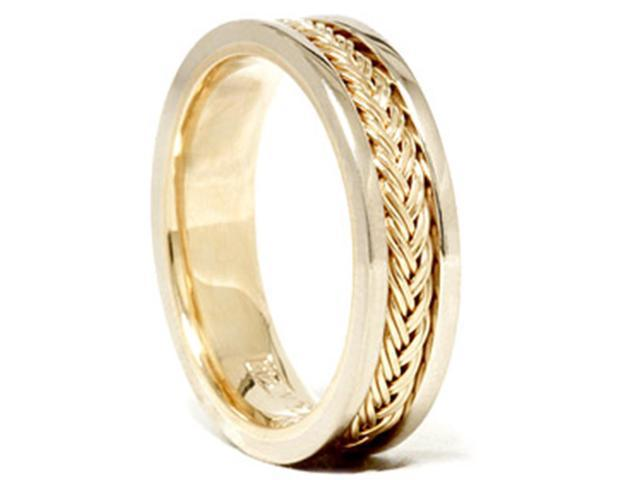 Mens 14K White Yellow Gold Two Tone Braided Band Ring