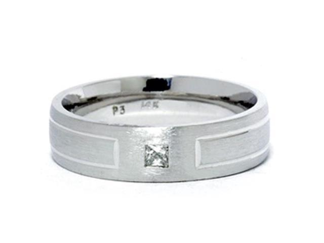 Mens White Gold Bezel 14K Diamond White Gold New Ring