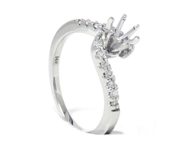 Women's 1/4ct Diamond Engagement Ring 14K White Gold Setting Mounting