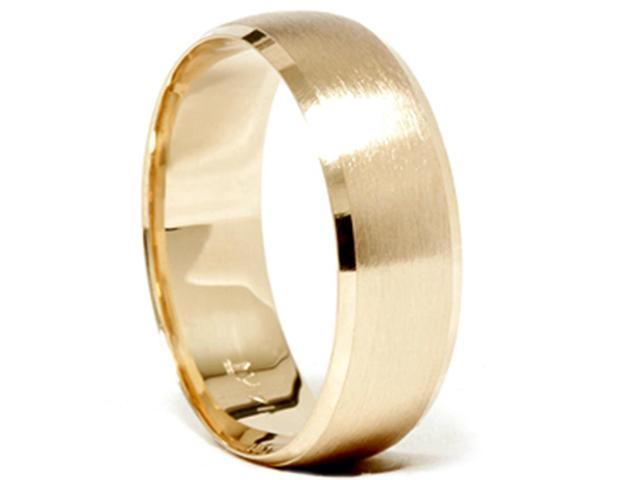 Mens 14k Gold 8mm Beveled Brushed Wedding Ring Band New