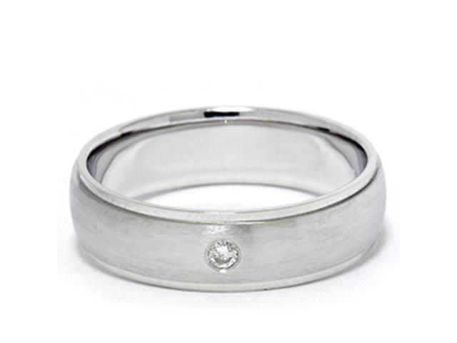 Mens Diamond Solitaire 14K White Gold Wedding Ring Band