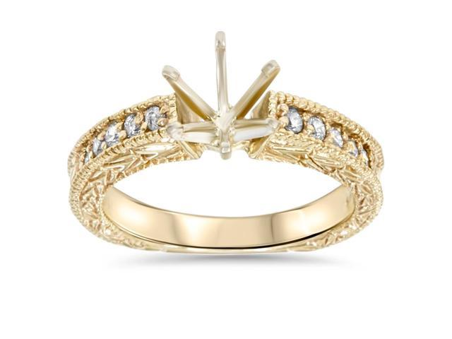 Gold 1/4ct Diamond Engagement Semi Mount Ring Setting