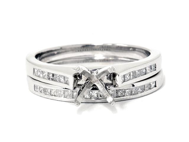 Women's 7/8ct Princess Cut Diamond Semi Mount Engagement Bridal Ring Set 14KGold