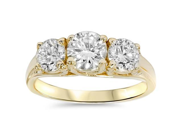2ct Round Diamond 3-Stone Engagement Ring 14K Yellow Gold Solitaire Round Cut