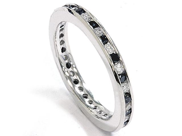 1ct Black & White Diamond Eternity Ring 14K White Gold Band