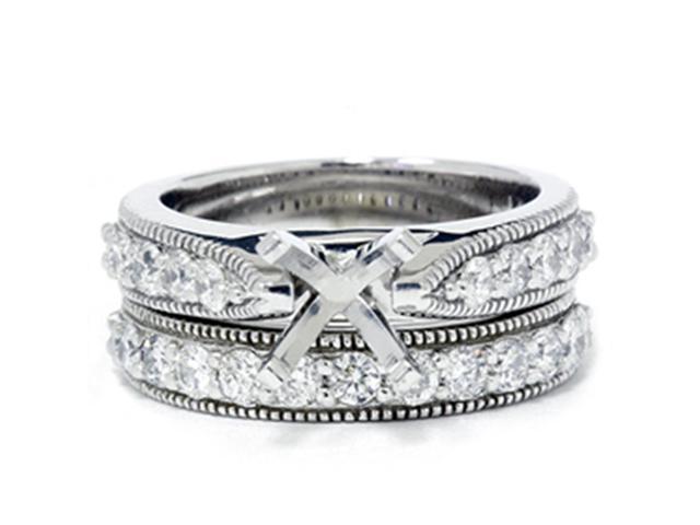 1ct Diamond Engagement Bridal Set Setting 14K White Gold