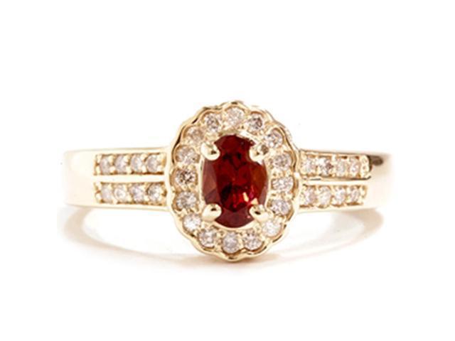 1 1/10ct Diamond & Red Tourmaline Pave Halo Gold Ring 14K Gold