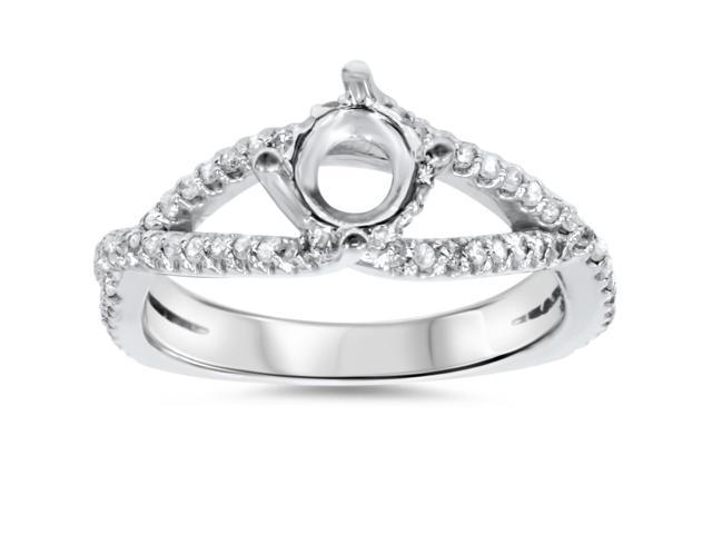 3/8ct 14K White Gold Diamond Engagement Ring Semi Mount