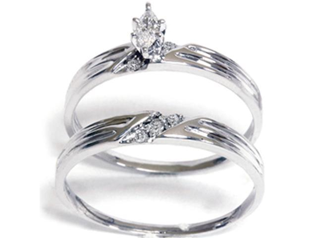 1/4ct Marquise Pave Diamond Ring Set 14K White Gold