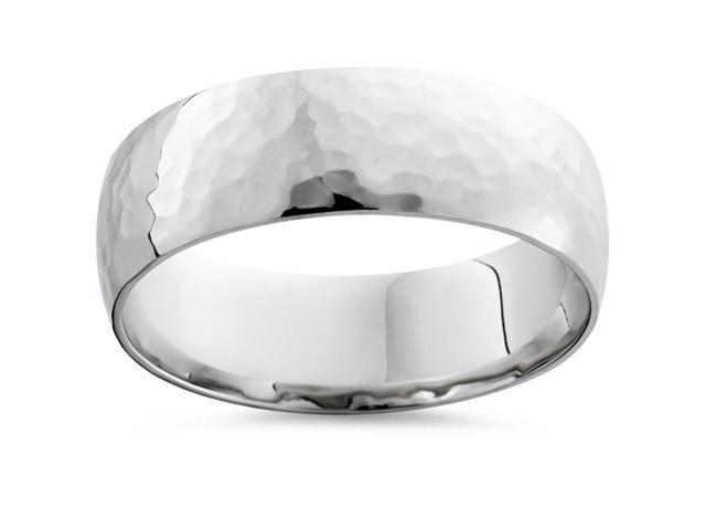 Mens 7mm 14K White Gold Polished Hammered Wedding Ring Band