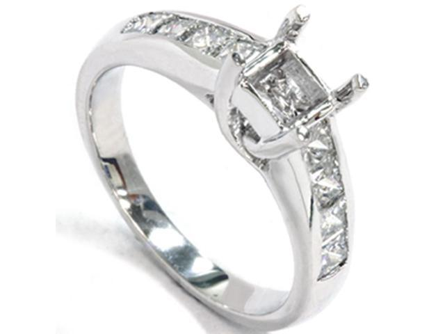 Womens 1ct Princess Cut Diamond Cathedral Engagement Ring Setting