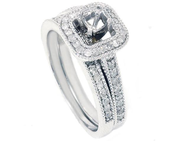 3/4ct Diamond Halo Ring Set 14K White Gold