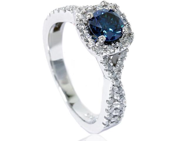 1/2ct Cushion Halo Pave Diamond Engagement Ring Setting 14K White Gold