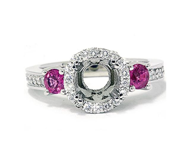 3/4ct Pink Sapphire & Diamond Engagement Ring Semi Mount 14K White Gold
