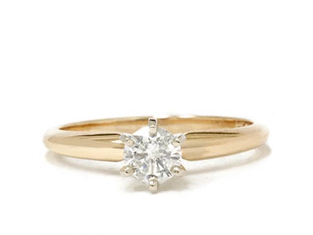 1/3ct Round Diamond Solitaire Engagement Ring 14K Yellow Gold