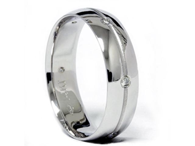 Mens Comfort Fit Bezel Diamond Wedding Band 14K White gold