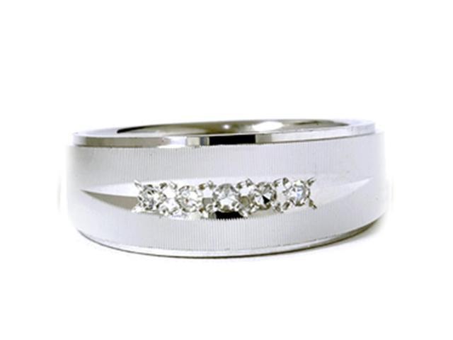 Mens 1/6ct Textured Wedding Anniversary White Gold Ring