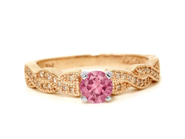 3/4ct Pink Sapphire & Diamond Pave Vintage Ring 14K Rose Gold