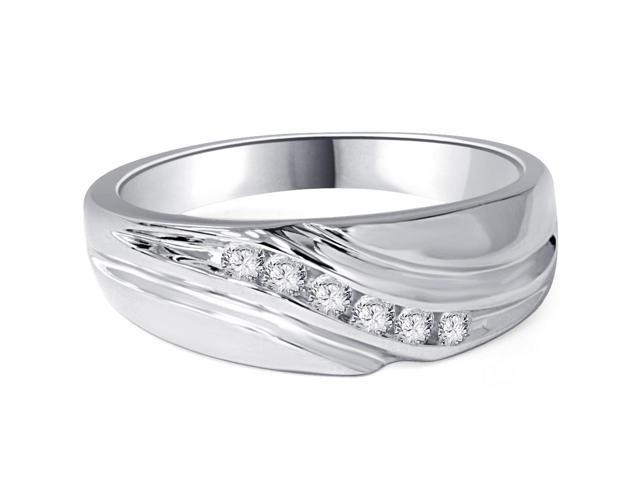 Mens 14K White Gold 1/4ct Diamond Wedding Ring Band New