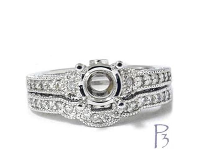 7/8ct Heirloom Diamond Bridal Ring Set Setting 14K White Gold