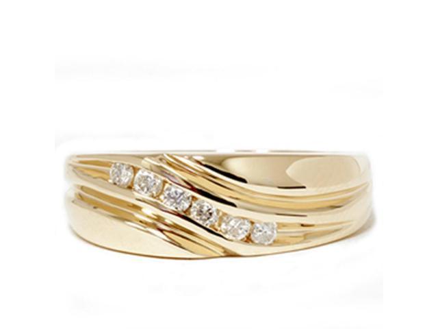 Mens 14K Yellow Gold 1/4ct Diamond Wedding Ring Band