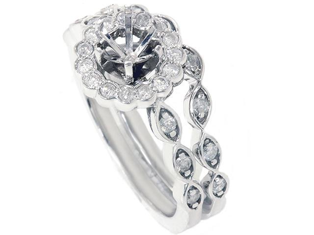 1/2ct Vintage Halo Diamond Engamnet Bridal Ring Set Semi Mount 14K White Gold