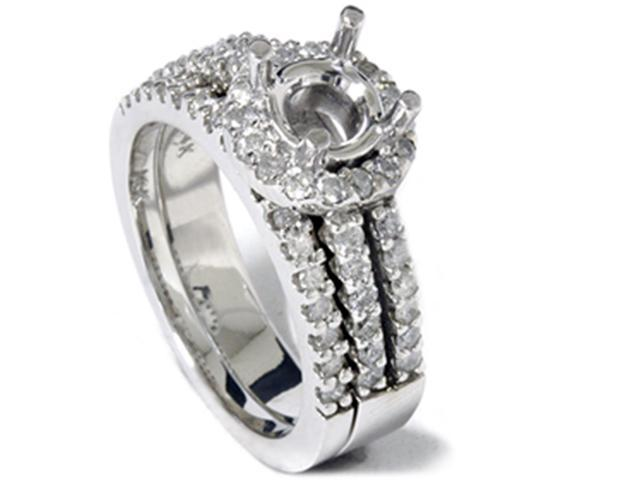7/8ct Diamond Halo Bridal Engagement Ring Setting 14K White Gold