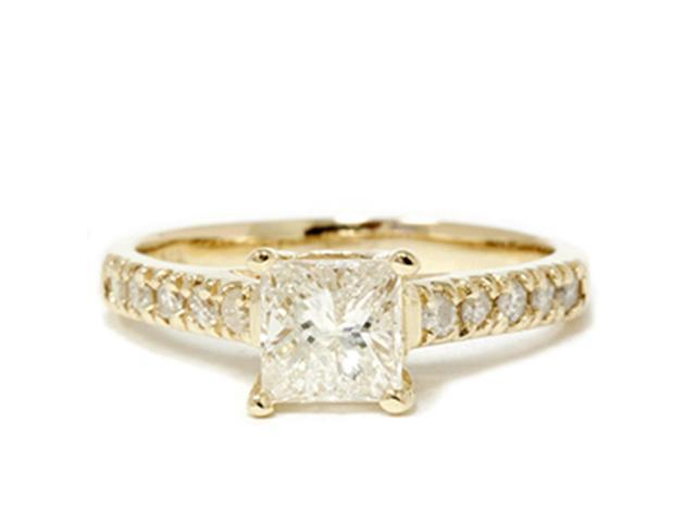 14k Yellow Gold Princess Cut 1 1/4ct Enhanced Diamond Cathedral Engagement Ring