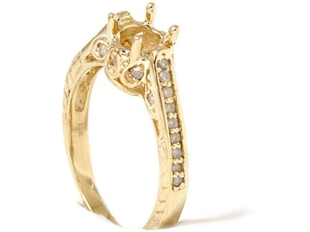 Vintage 1/5ct Semi Mount Engagement Ring Setting 14K Yellow Gold