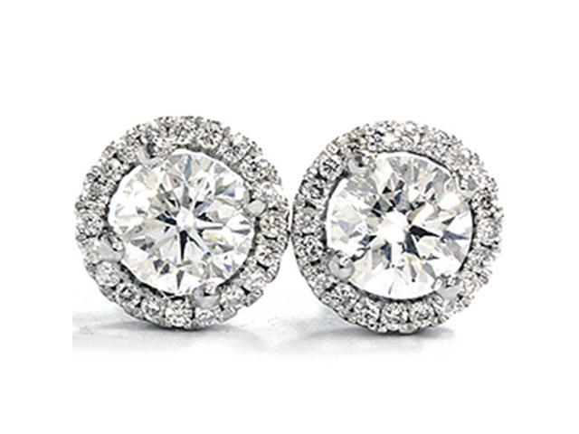 VS 1ct Micropave Diamond Studs 18K White Gold Halo Vintage Antique Round