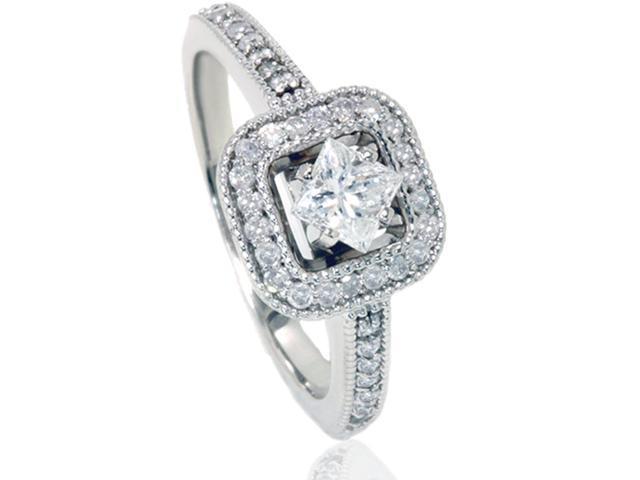 3/4ct Princess Halo Diamond Engagement Ring Solid 14K White Gold