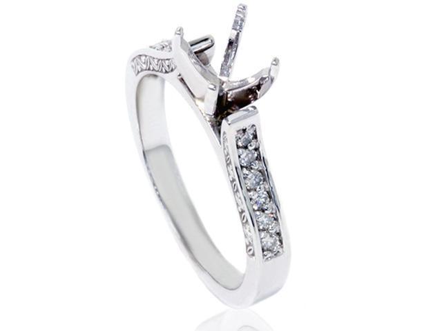 1/5ct Vintage Diamond Semi Mount Ring 14K White Gold