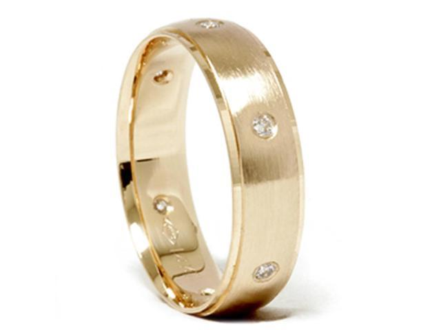 Mens Yellow 14K Gold Beveled Wedding Band Diamond Ring