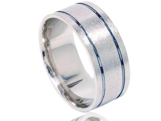 Men's 8MM Brushed Double Inlay Wedding Band Ring Solid 10K Black & White Gold