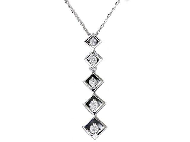 White Gold 1/4ct Drop Dangle Diamond Pendant Necklace