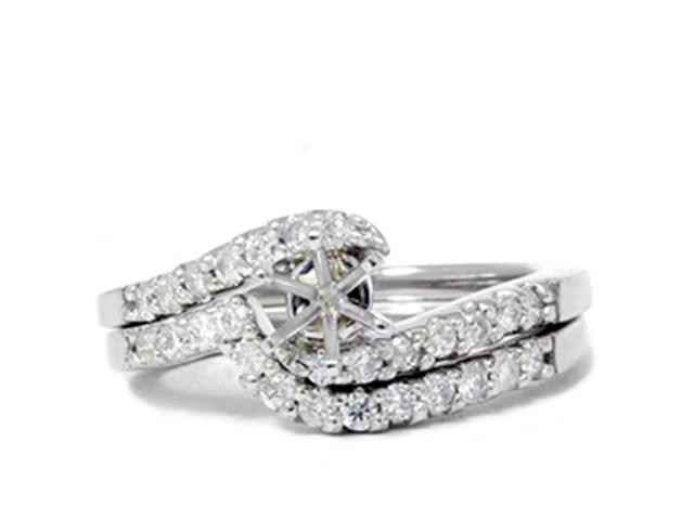 1/2ct Semi Mount Engagement Curve Wedding Ring Set 14K