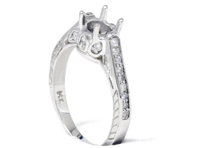 1/5ct Vinatge Diamond Semi Mount Engagement Ring Setting 14K White Gold