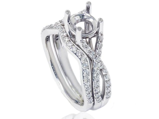 Womens 3/4ct Twist Engagement Matching Ring Set Semi Mount Setting Vintage White Gold
