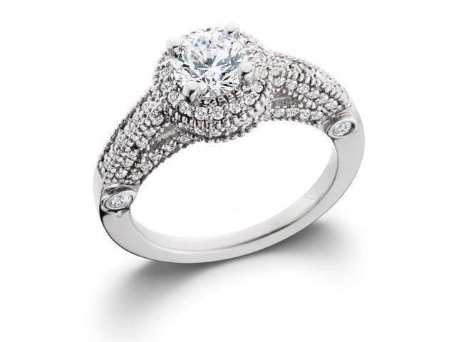 1 1/6ct Vintage Halo Diamond Vintage Antique Style Ring 14K White Gold Solitaire