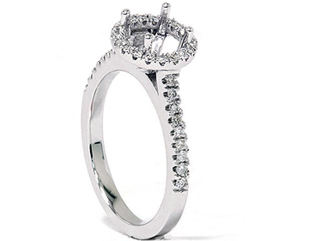 1/3ct Pave Halo Diamond Engagement Semi Mount Ring 14K White Gold