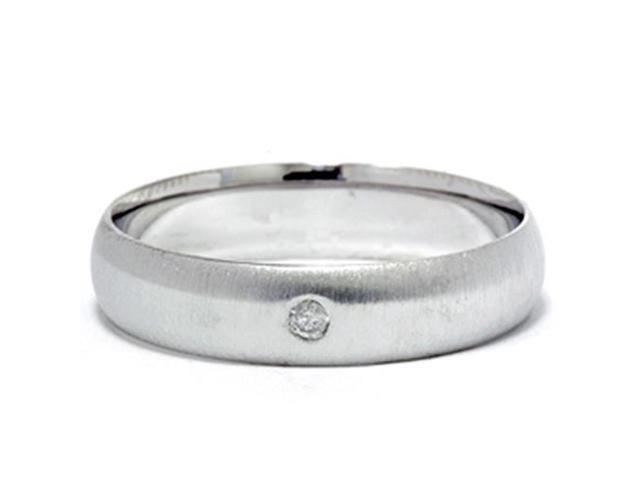 Mens Diamond Solitaire Wedding Band  14K White Gold