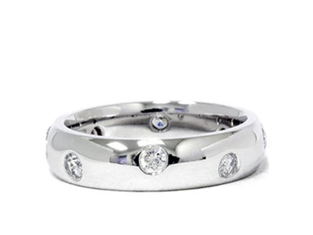 1/2ct Bezel Diamond Eternity Wedding 14K White Gold New Ring