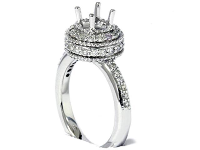 Women's 1/2ct Fancy Unique Semi Mount Engagement Ring Setting 14K White Gold