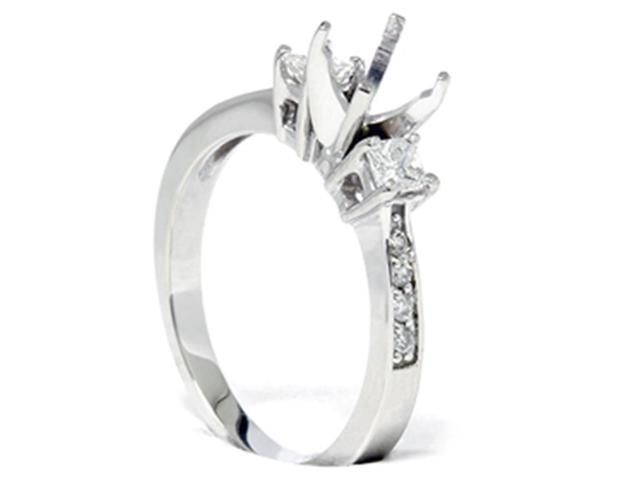 Princess Cut Diamond Engagement Semi Mount Ring Setting