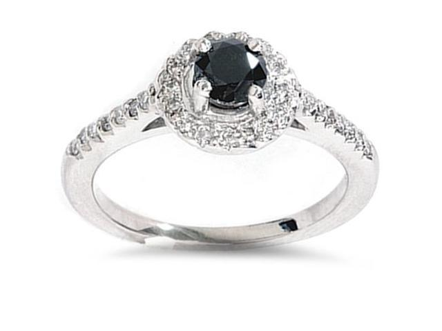 1ct Black Diamond Engagement  Halo Ring 14K White Gold