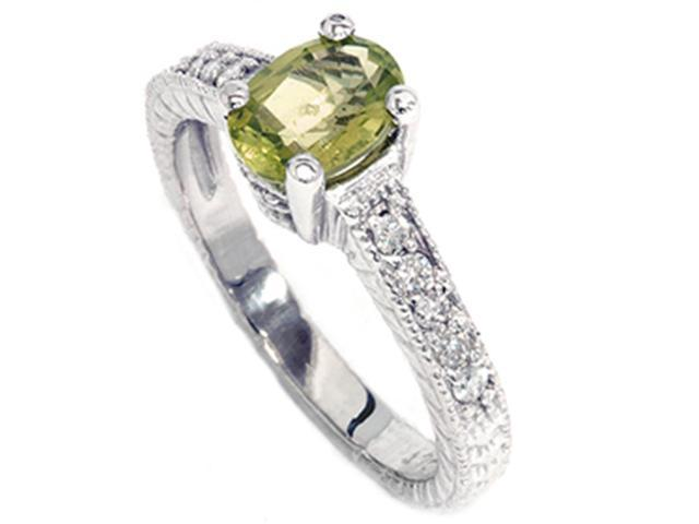 3/4ct Oval Peridot Diamond Anniversary Engagement Ring