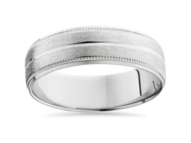 950 Platinum 6mm Comfort Fit Brushed Wedding Band Mens Bridal Satin Ring