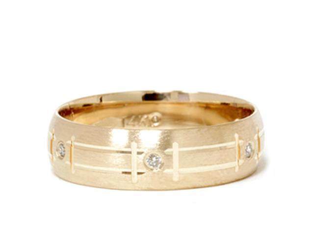 Mens 14K Yellow Gold Diamond Swiss Cut Wedding Band