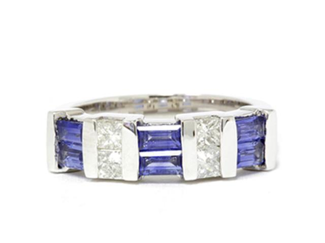 1 1/2ct Princess Cut Diamond & Blue Sapphire 14K White Gold Ring
